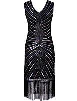 Shall We Latin Dance Dresses Women's Performance Polyester Paillette Sleeveless High Dress