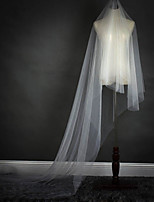 One-tier Wedding Veil Cathedral Veils With Ruched Lace Tulle