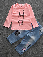 Girls' Print Clothing Set,Cotton Fall All Seasons Long Sleeve Casual Active Blushing Pink