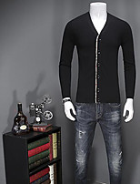 Standard Cardigan Da uomo-Casual Semplice Tinta unita A V Manica lunga Poliestere Primavera Autunno Medio spessore Media elasticità