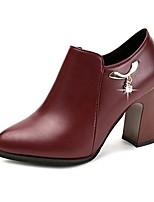 Women's Shoes PU Fall Comfort Heels Chunky Heel Round Toe Zipper For Casual Burgundy Black