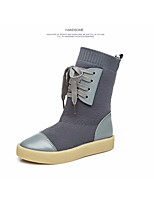 Girls' Shoes Knit Fall Winter Combat Boots Boots Mid-Calf Boots Lace-up For Casual Black Gray