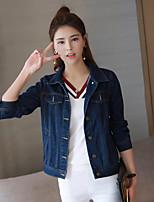 Women's Daily Simple Casual Fall Denim Jacket,Solid Shirt Collar Long Sleeve Regular Cotton