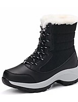 Women's Shoes PU Leatherette Fall Winter Comfort Boots Round Toe Mid-Calf Boots Lace-up For Casual Blue Red Beige Black