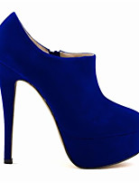 Women's Shoes PU Fabric Spring Summer Comfort Heels For Casual Blue Red Fuchsia Purple Orange