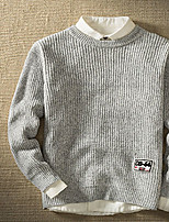 Men's Casual/Daily Simple Regular Pullover,Solid Round Neck Long Sleeves Polyester Fall Medium Micro-elastic