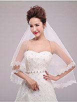 One-tier Sweet Style Classic Style Cut Edge Lace Applique Edge Wedding Sequins Wedding Veil Elbow Veils With Applique Tulle