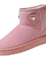 Femme Chaussures Polyuréthane Automne Hiver Semelles Légères Bottes Talon Plat Bout rond Lacet Pour Décontracté Noir Gris Rose