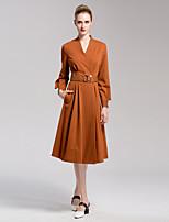 Для женщин На выход На каждый день Простой С летящей юбкой Платье Однотонный,V-образный вырез Средней длины Длинный рукав Хлопок Спандекс