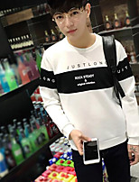 Men's Daily Sweatshirt Color Block Letter Round Neck Micro-elastic Cotton Polyester Long Sleeve Fall