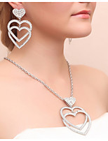 Women's Drop Earrings Necklace Rhinestone Wedding Party Alloy Heart Necklace Earrings