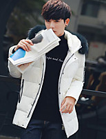 Men's Padded Coat,Simple Going out Letter-Others Cotton Long Sleeves