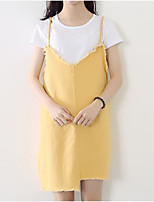 Women's Going out Simple Summer T-shirt Skirt Suits,Solid Strap Short Sleeve