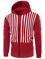 Men's Daily Casual Hoodie Striped Hooded Micro-elastic Cotton Acrylic Long Sleeve Winter Fall