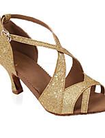 Women's Latin Glitter Heel Indoor Sparkling Glitter Customized Heel Gold Customizable