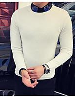 Men's Casual/Daily Regular Cardigan,Solid Round Neck Long Sleeves Cotton Fall Winter Medium Micro-elastic
