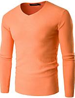 Standard Pullover Da uomo-Casual Tinta unita A V Manica lunga Altro Primavera Inverno Medio spessore Media elasticità