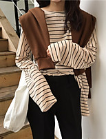 Women's Daily Vintage T-shirt,Striped Round Neck Long Sleeves Others
