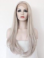 Women Synthetic Wig Lace Front Medium Length Long Wavy Straight Natural Wave Grey Party Wig Celebrity Wig Halloween Wig Carnival Wig