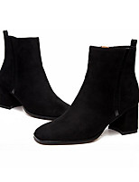 Women's Shoes Nubuck leather Fall Winter Fashion Boots Boots Chunky Heel Square Toe Booties/Ankle Boots For Casual Army Green Black