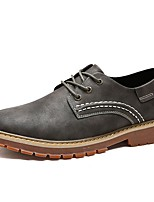 Men's Shoes Cowhide Spring Fall Comfort Oxfords Lace-up For Casual Khaki Gray Black