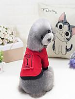 Собака Толстовка Одежда для собак Стиль Однотонный Красный Черный Костюм Для домашних животных