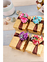 Cuboid Card Paper Favor Holder With Flowers Favor Boxes-12 Wedding Favors