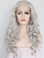 Women Synthetic Wig Lace Front Medium Length Long Curly Wavy Natural Wave Loose Wave Water Wave Grey Lolita Wig Party Wig Celebrity Wig