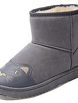 Mujer Zapatos Cuero Nobuck PU Otoño Invierno Confort Botas de nieve Botas Tacón Plano Dedo redondo Mitad de Gemelo Para Casual Negro Gris