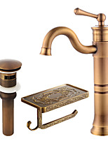 Centerset Swivel Ceramic Valve Single Handle One Hole Antique Copper , Bathroom Sink Faucet