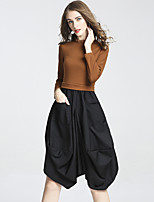 DFFD Women's Daily Going out Casual Street chic Loose Dress,Solid Stand Knee-length Long Sleeves Polyester Fall Mid Rise Micro-elastic Medium