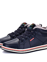 Men's Shoes Cowhide Leatherette Fall Winter Comfort Sneakers Split Joint For Casual Dark Blue Black