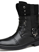 Women's Shoes Nappa Leather Fall Winter Cowboy / Western Boots Bootie Combat Boots Boots Booties/Ankle Boots For Casual Outdoor Black