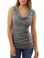 Tee-shirt Femme,Couleur Pleine Sortie simple Printemps Eté Sans Manches Col en V Autres Opaque