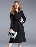 Women's Going out Street chic Sophisticated Sheath Dress,Solid Shirt Collar Midi Long Sleeves Cotton Nylon Spandex Winter Mid Rise
