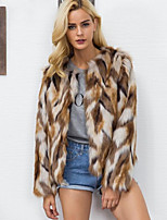 Women's Casual/Daily Simple Fall Winter Fur Coat,Color Block Round Neck Long Sleeve Regular Fox Fur