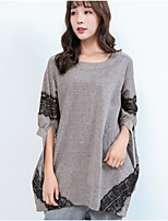 Women's Daily Casual T-shirt,Color Block Round Neck Half Sleeves Cotton Linen