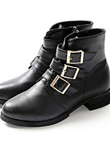 Women's Shoes Patent Leather Fall Winter Fashion Boots Boots Chunky Heel Round Toe Booties/Ankle Boots For Casual Black Gray