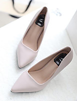 Women's Shoes Real Leather Spring Fall Comfort Heels Stiletto Heel For Casual Nude Almond Black White