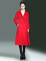 ALLA ONER Women's Going out Casual/Daily Simple Winter Trench CoatSolid Notch Lapel Long Sleeve Long Wool