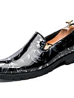 Hombre Zapatos Cuero Patentado Otoño Invierno Zapatos formales Zapatos de taco bajo y Slip-On Para Casual Fiesta y Noche Negro Gris Rojo
