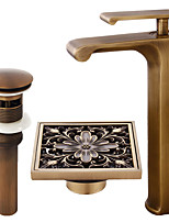 Centerset Waterfall with  Ceramic Valve Single Handle One Hole for  Antique Copper , Bathroom Sink Faucet
