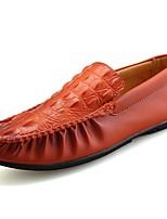 Hombre Zapatos PU Primavera Otoño Confort Zapatos de taco bajo y Slip-On Para Casual Blanco Negro Naranja Azul
