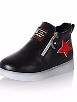 Girls' Shoes PU Fall Winter Comfort Flats For Casual Blushing Pink Red Yellow Black