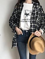 Camicia Da donna Casual Primavera Autunno,A scacchi Squadrata Cotone Lino Manica lunga Sottile