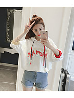 Women's Going out Casual T-shirt,Solid Embroidery Letter Round Neck 3/4 Length Sleeves Cotton