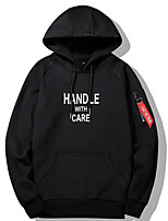 Men's Daily Casual Hoodie Letter Hooded Micro-elastic Polyester Long Sleeve Fall