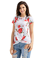 Women's Holiday Going out Casual/Daily Fall T-shirt,Print V Neck Short Sleeves Polyester Spandex
