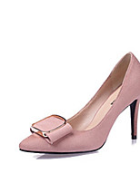 Women's Shoes PU Spring Fall Comfort Heels Stiletto Heel Pointed Toe For Casual Black Gray Red Pink Wine