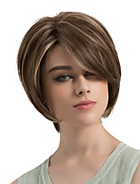 Women Synthetic Wig Capless Short Natural Wave Brown/White Side Part Highlighted/Balayage Hair Layered Haircut With Bangs Natural Wigs